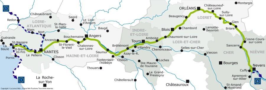La Loire à vélo - Carte
